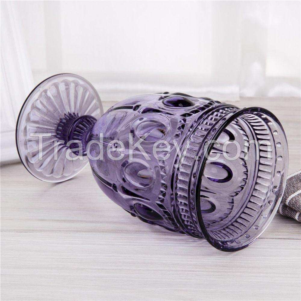 Kingstone purple glass goblet