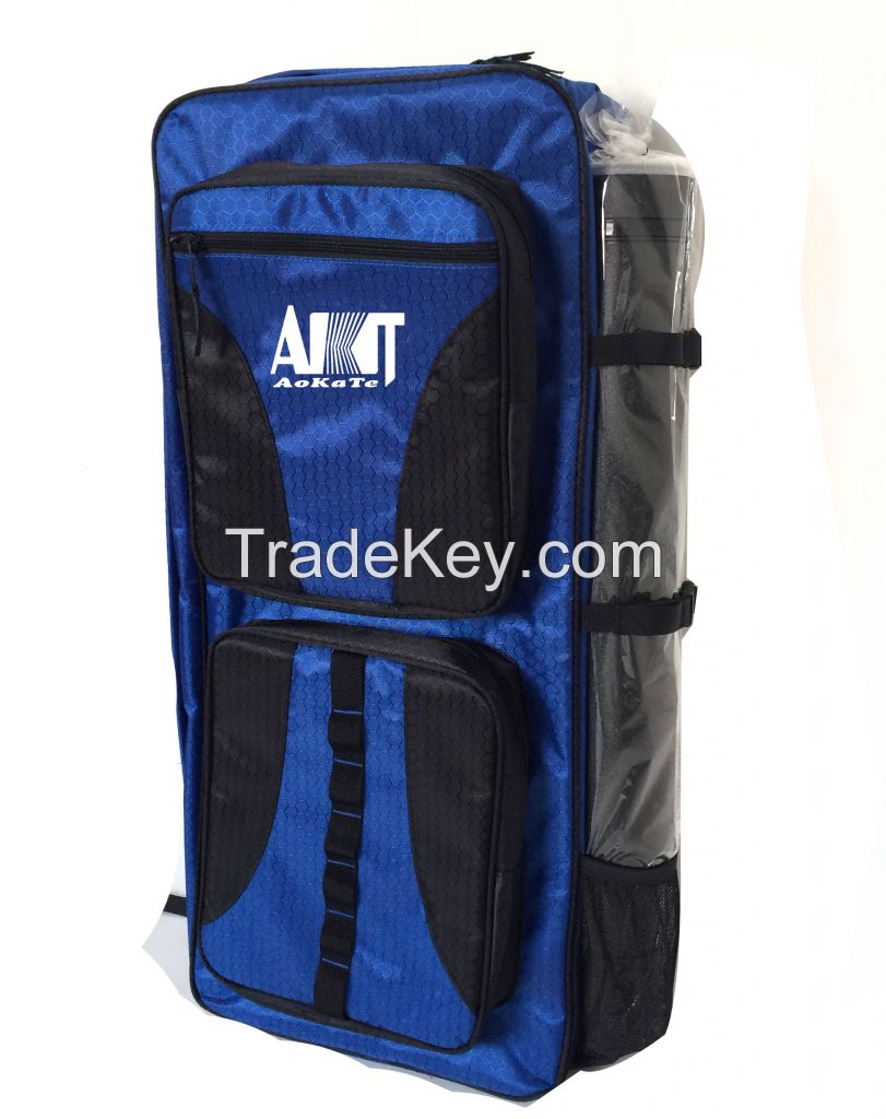 Honeycomb pattern backpack with plastic arrow tube and comfortable padded straps to carry recurve bow and arrow