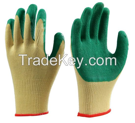 21s yellow Polyester/T/C/Cotton liner with green Latex,crinkle finish,palm coated