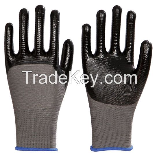 13G polyester liner with smooth nitrile, palm coated