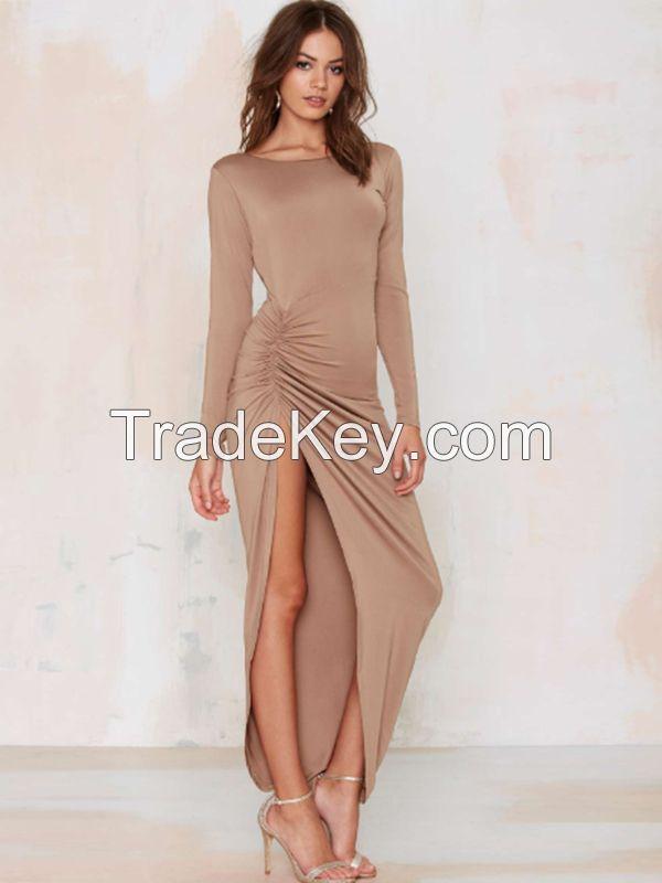 2017 New Arrival Khaki Black Sexy Long Slit Maxi Dress Long Sleeve Beach Dress