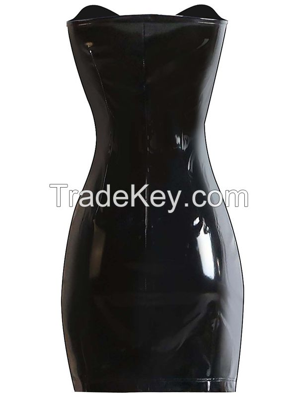 2017 New Arrival Sexy Women Black Vinyl Women Dress Mini Dress