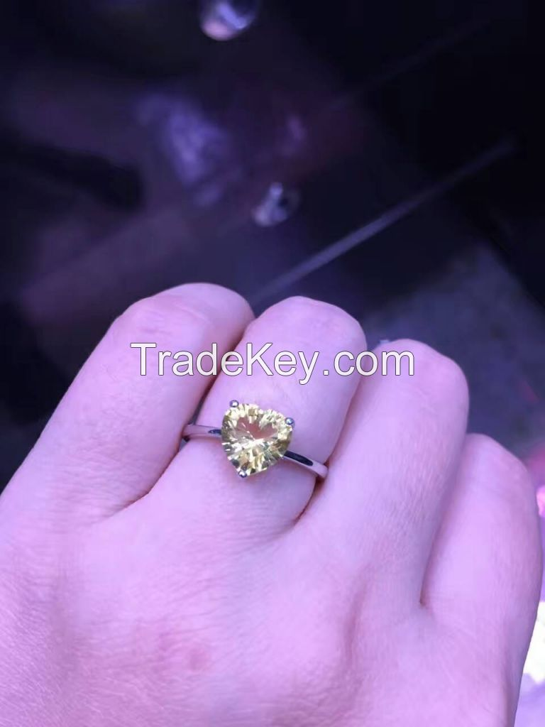 Natural Citrine with 925 Silver Ring Jewelry