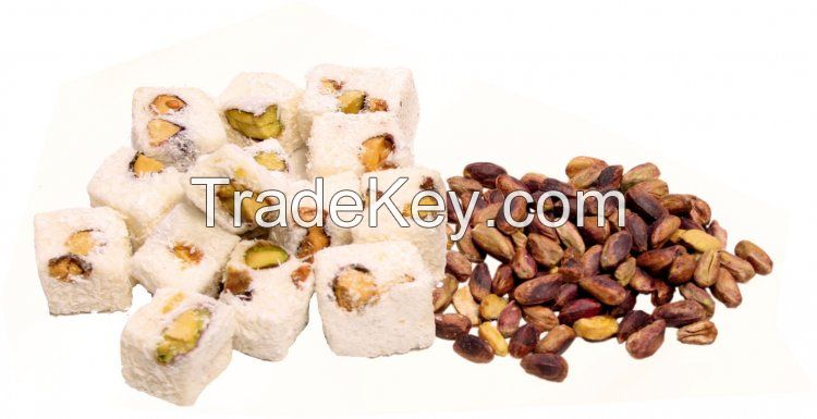 Turkish delight, Turkish coffe, dried nuts and fruits, flavored and jelly candies and similar foodstuff
