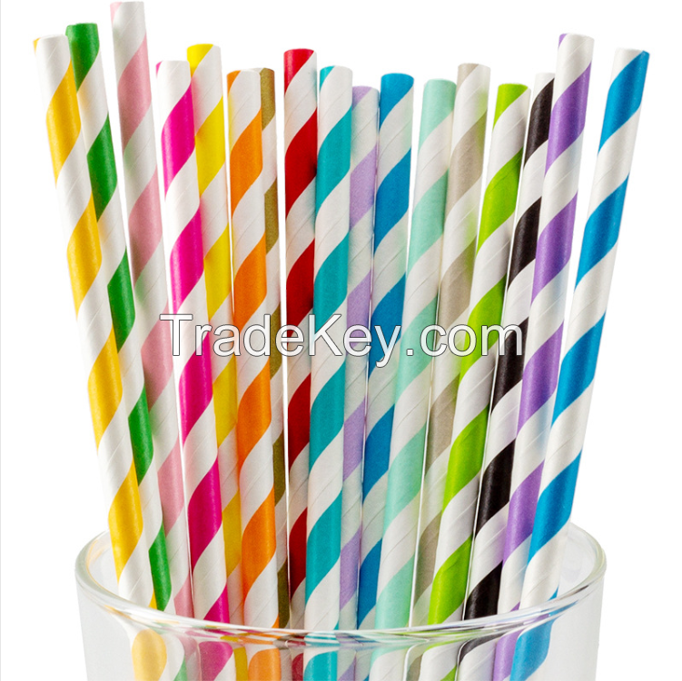 Color Biodegradable Paper Straws - Bright Colors - Eco Friendly Straws for Juice, Soda, Cocktails, Shakes - Great for Birthday Parties, Bridal Showers, Cake Pop Sticks