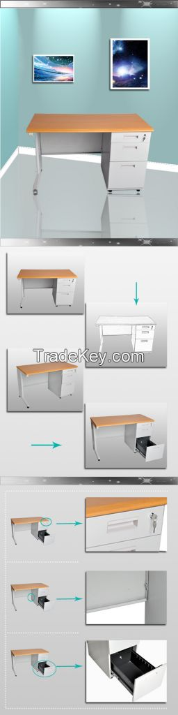 Luxury Fireproof MDF Top Office Desk with Metal Front Panel