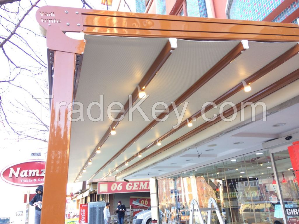 Awnings, canopy systems, canopy canopy, light canopy, curtain roof systems, automatic canopy systems, folding canopy systems, pergola canopy
