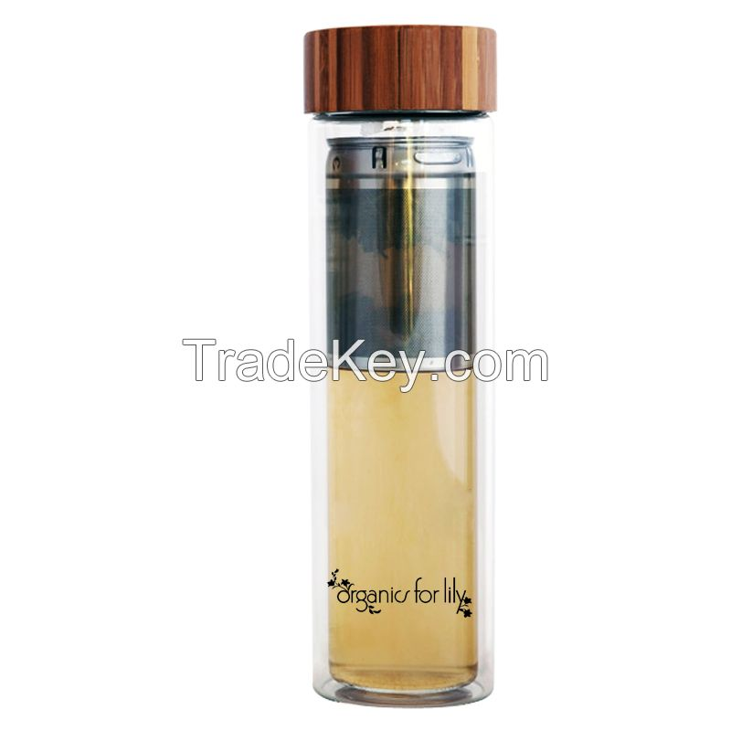EG505 New design factory sale high borosilicate glass filtered sports drinking water bottle with bamboo cap