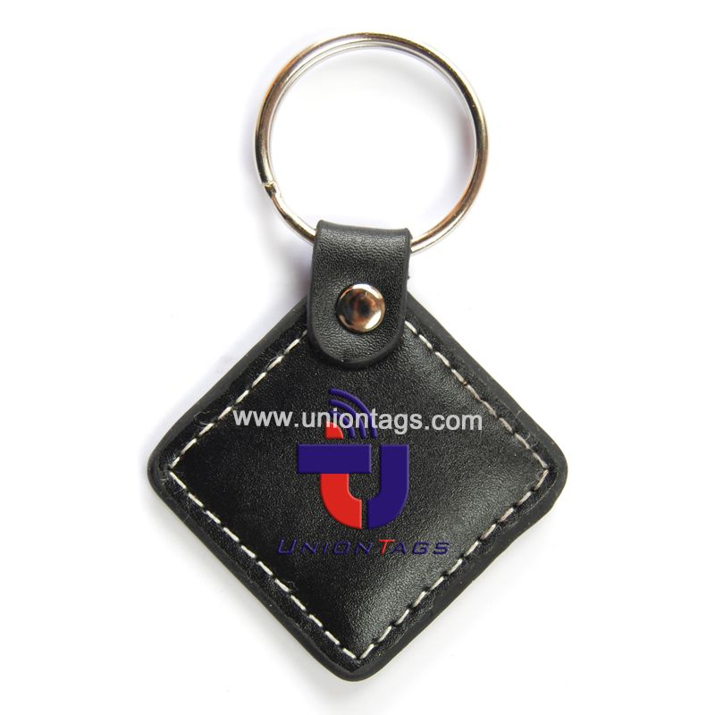 MF1 s50 nfc 13.56mhz round plastic rfid key tags with metal ring
