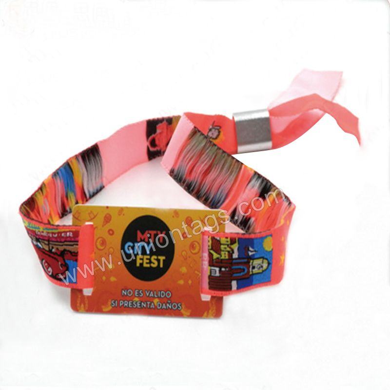 Cheap customized festival rfid woven wristbandfabric wristband f