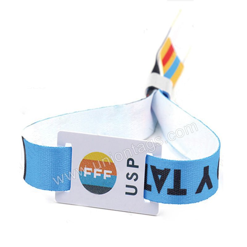 Disposable rfid festival fabricwoven wristband with NTAG213 for