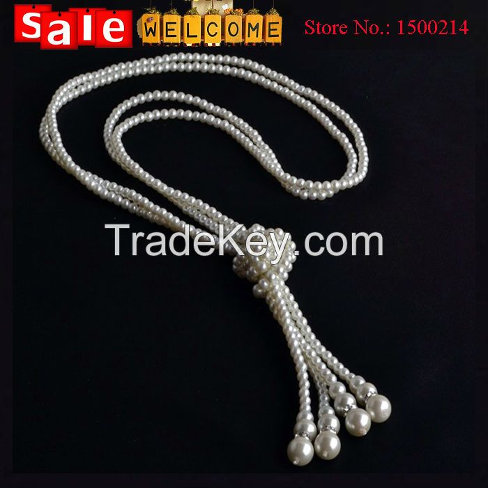 Fashion Long Tassel Pearl Party Wedding Necklace Chain Jewelry