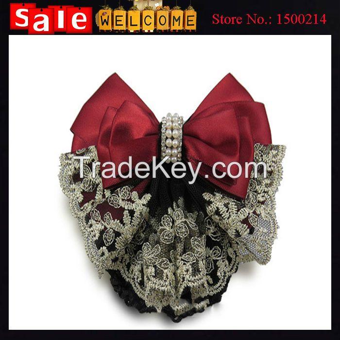 Pearl Satin Barrette Lady Hair Clip Cover Bow Bun Snood Hair Jewely