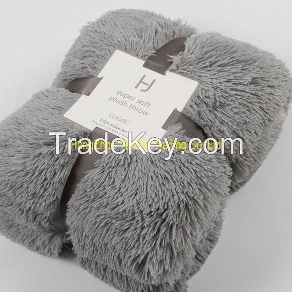 Soft PV plush blanket polyester throw