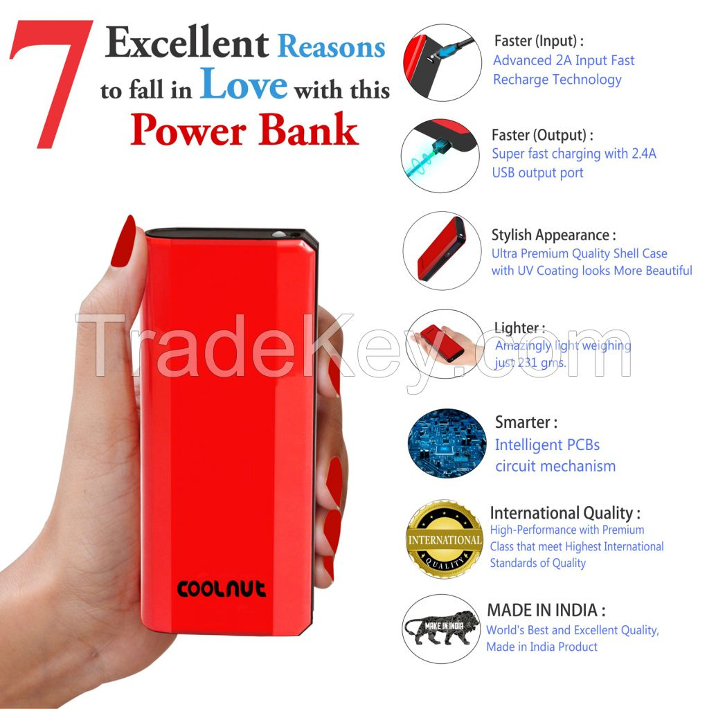 COOLNUT CMPBCI-50 10000mAh Power Bank, India (Red/Black)