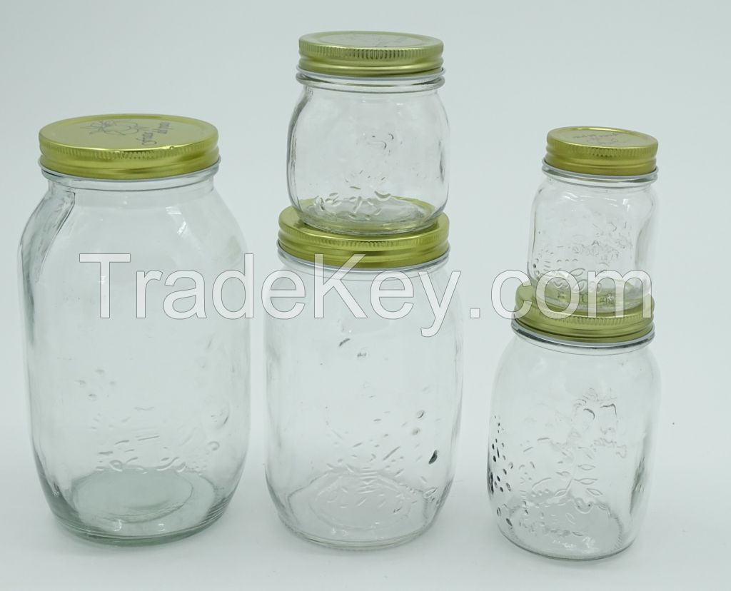 mason jar, 50ml, 100ml, 150ml, 200ml, 250ml, 300ml, 350ml, 500ml, 1000ml mason jar, glass jar, glass container