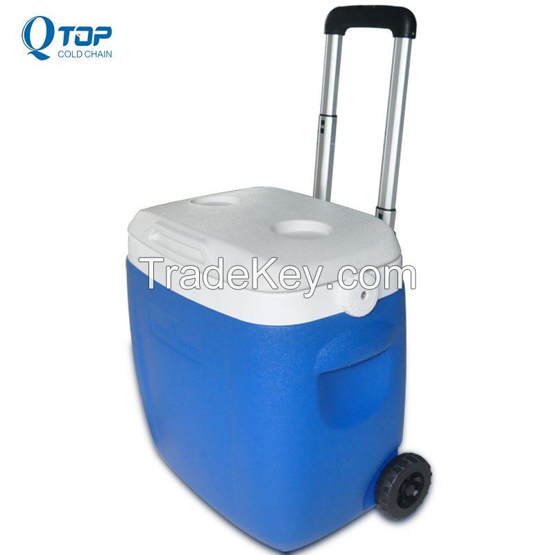 new 36L pulling styrofoam cooler box with wheels