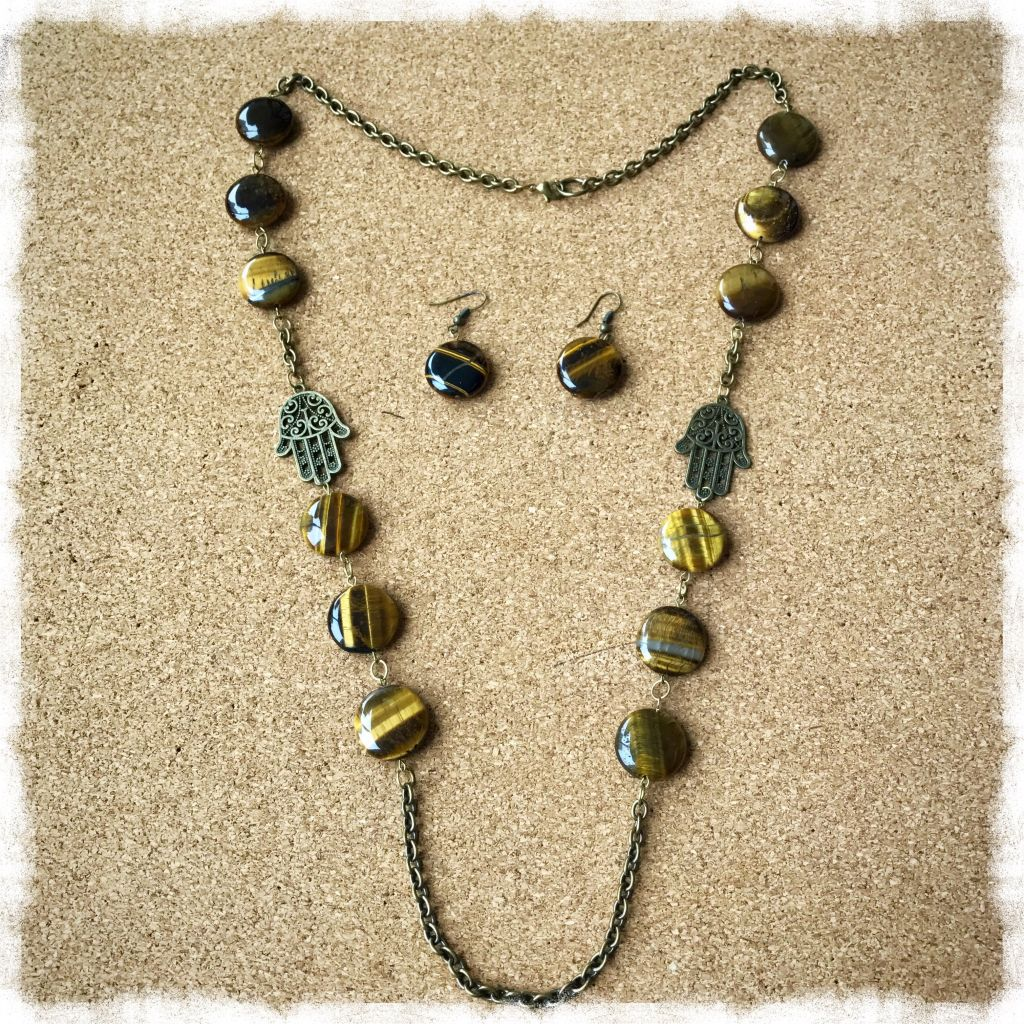 Brown Tiger Eye Stones Necklace and Earrings