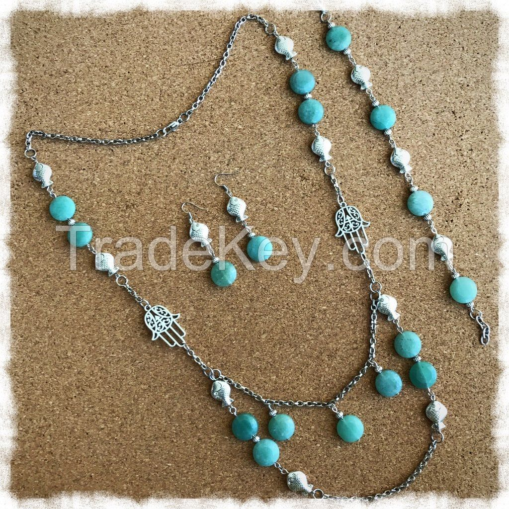 Jade Color Stone Necklace Earrings and Bracelet Set