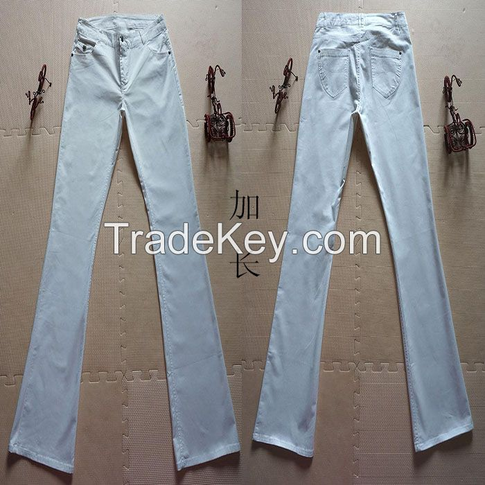 Cotton Women's Mud-rise Bell Bottom Trousers White Lengthen Bell-Bottomed Pants in Stock