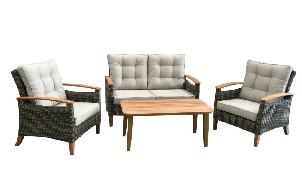 Outdoor furniture rattan furniture sofa with Teak arms(72100)