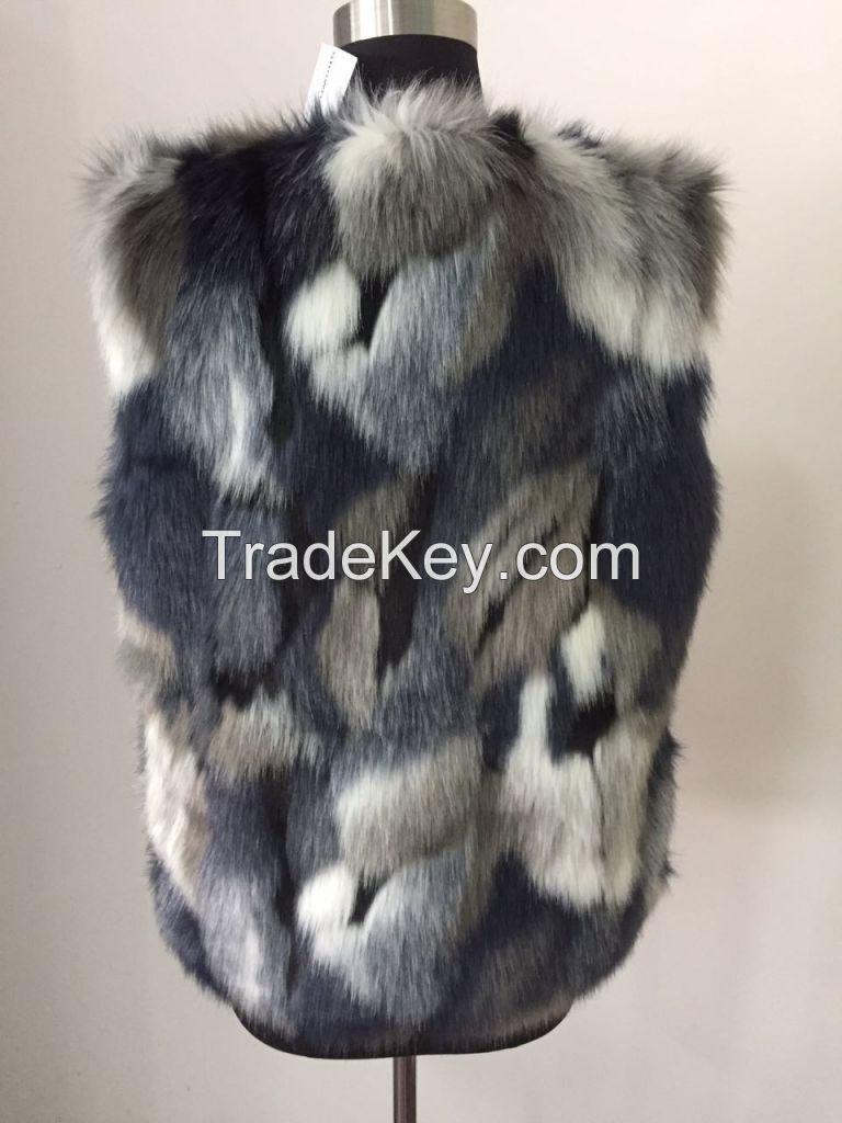 Women Faux Fur Vest Waistcoat Sleeveless Jacket