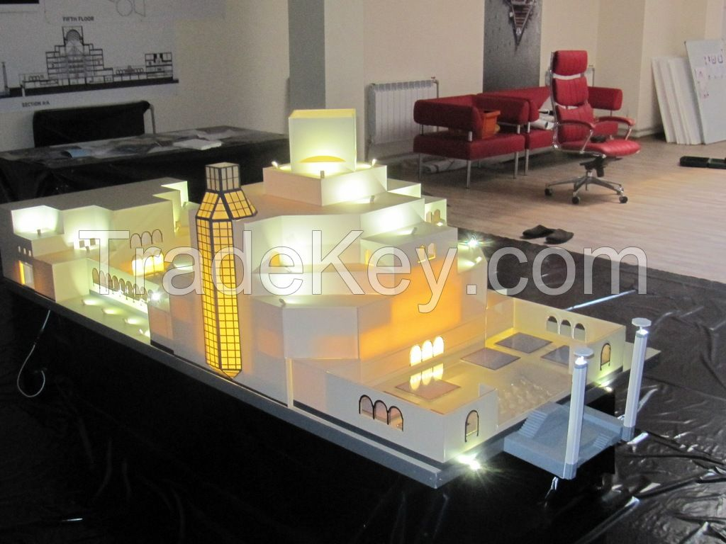 full-scale mockups, layouts of houses, buildings, architecture