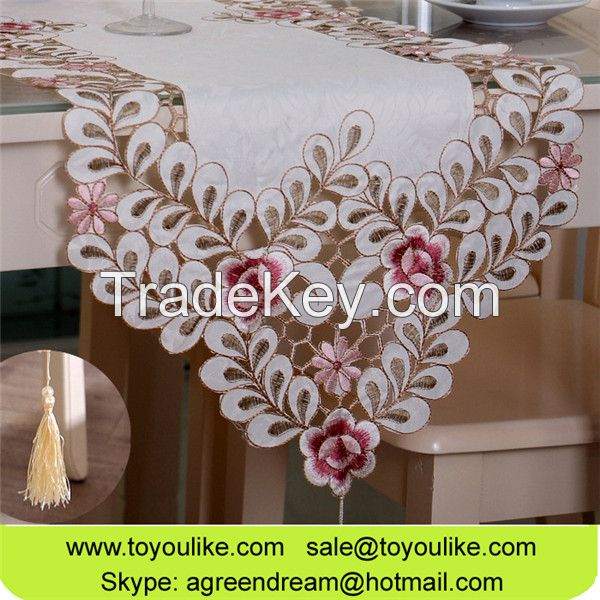 Handmade Cutwork Jacquard Embroidered Fabric Rectangle Dining Tablecloths Beige