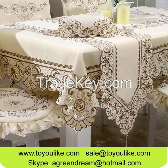 Handmade Cutwork Embroidered Polyester Dining Tablecloths Chair Cover Set