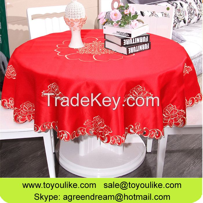 Red Joyous Handmade Cutout Embroidered Polyester Round Tablecloths