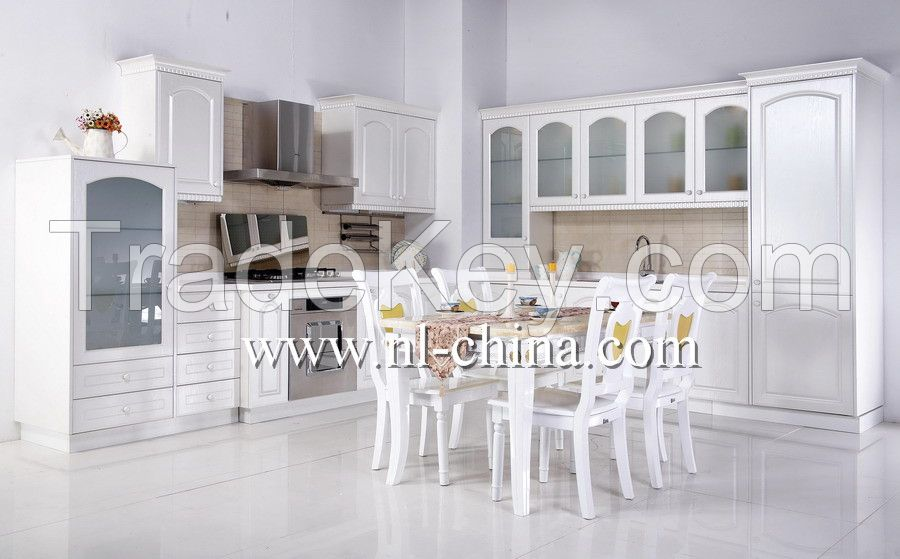 Modern High Gloss PVC Wooden Kitchen Cabinet with Island