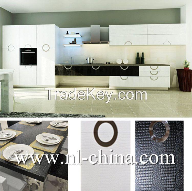 2017 New Style Wood Veneer Kitchen Cabinet Modern