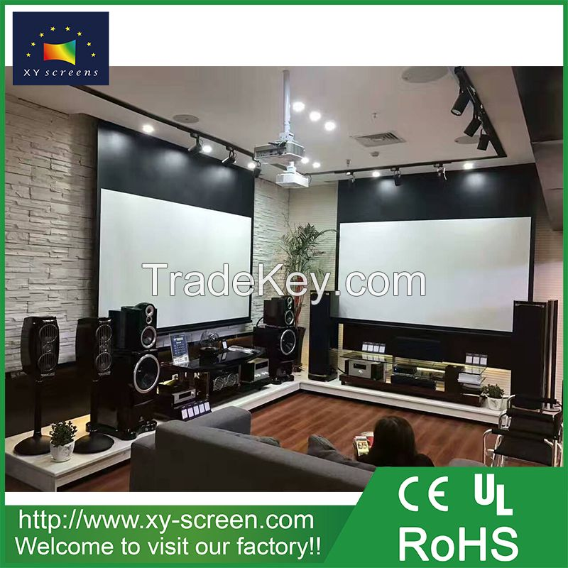 XYSCREEN 110'' 16:9 4K motorized tab tension projector screen roll up tab tensioned projection screen with remote control