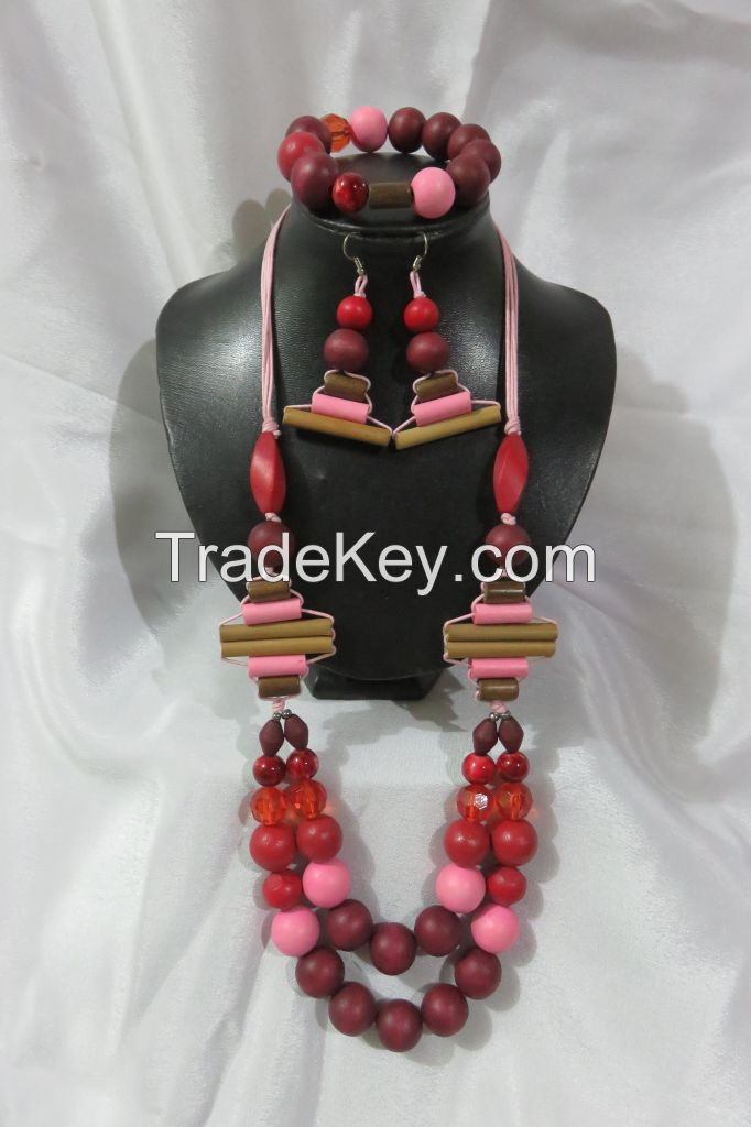 LCS-170055=A Set of 27.5 inches Necklace, 7 inches Garter Bracelet and Dangle Hook Earrings
