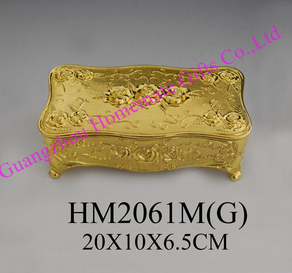 high quality  gold color jewelry box  zinc alloy  jewelry box