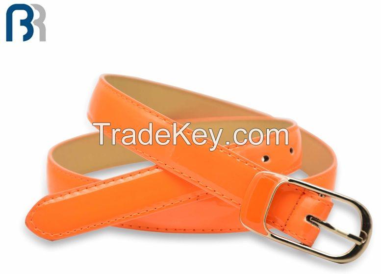 Ladies Skiny Stitching Patent PU Belt