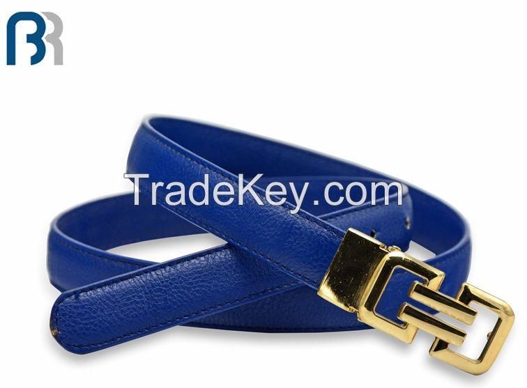 Ladies Adjustable Stitching Blue Belt