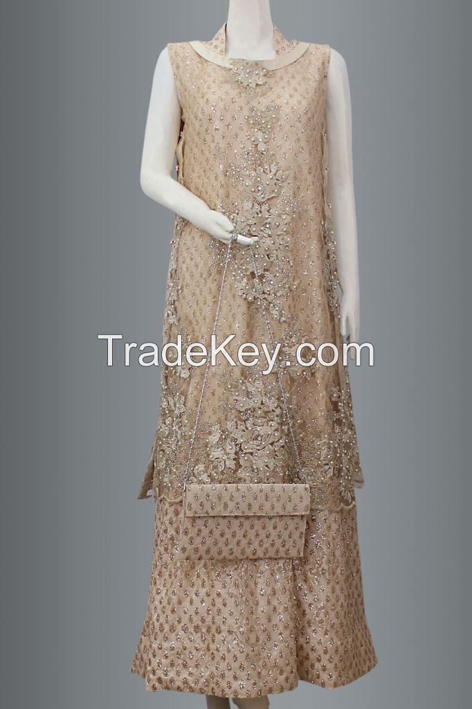 Double layer maxi With Trouser Dupatta