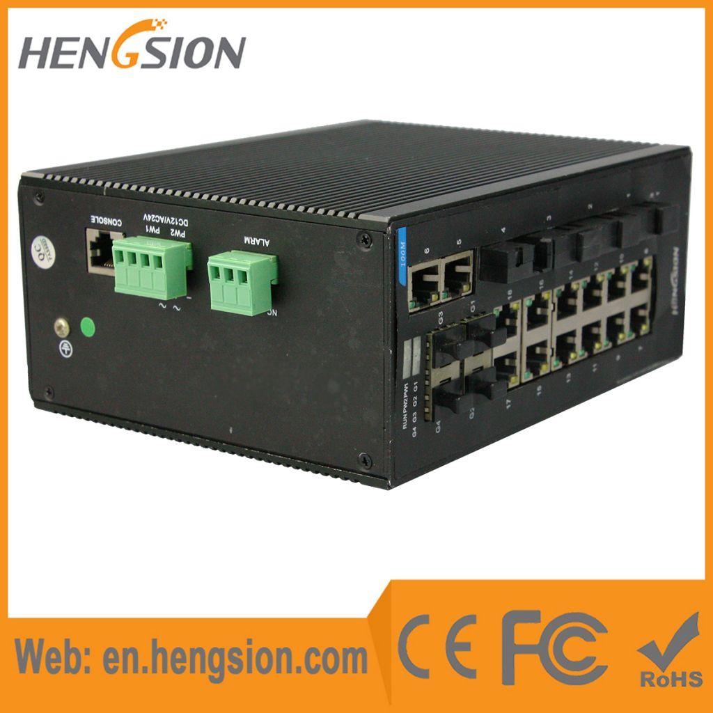 Unmanaged 14*100Base T(X) +4*100Base FX+ 4*1000Base SFP FX Industrial Ethernet Switch