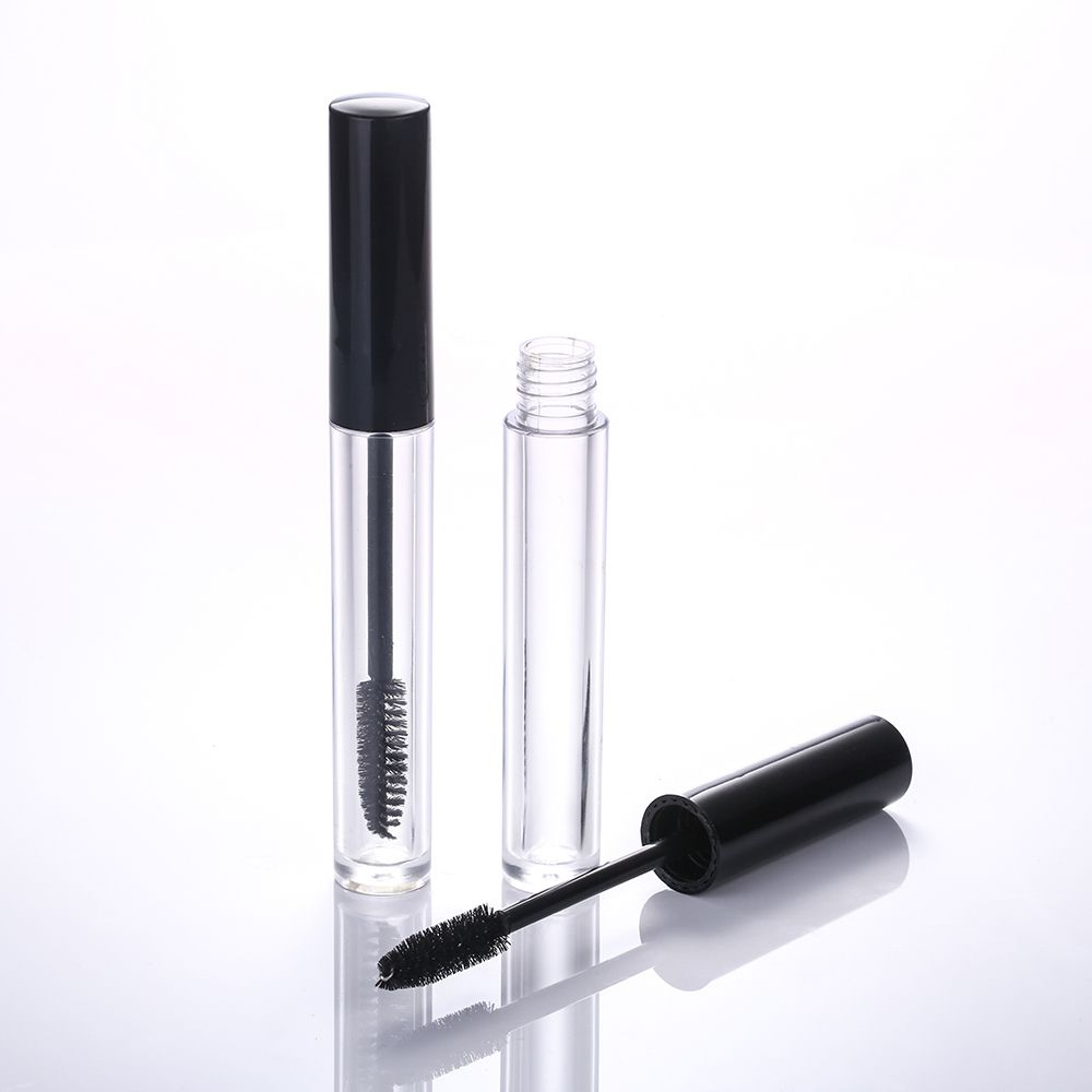 Small oval black cap clear mascara tube with wands