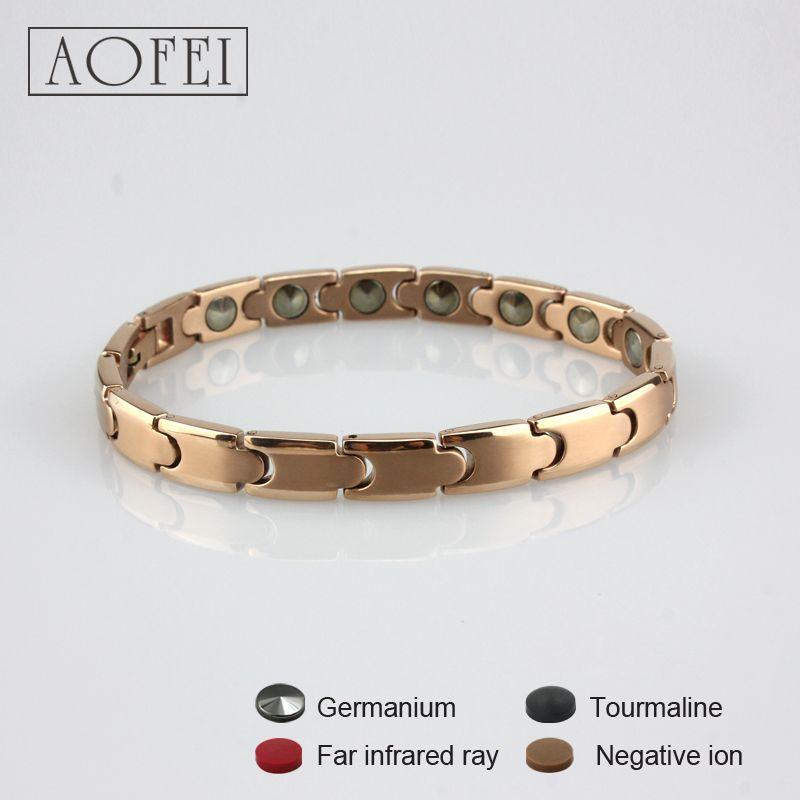 Fashion health gold and rose gold titanium germanium bracelet
