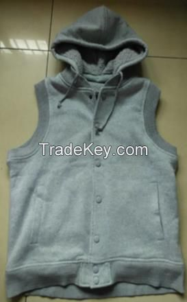 High Quality cheap warm autumn Men's hoody vest with sherpa lining
