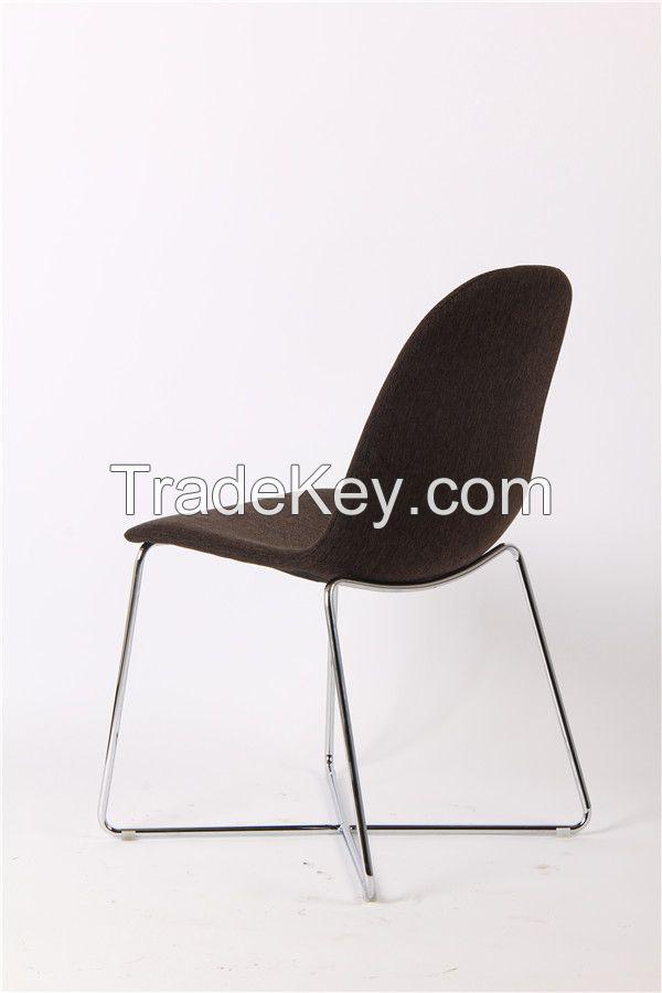round back fabric chromed legs dining chair EGC-2011