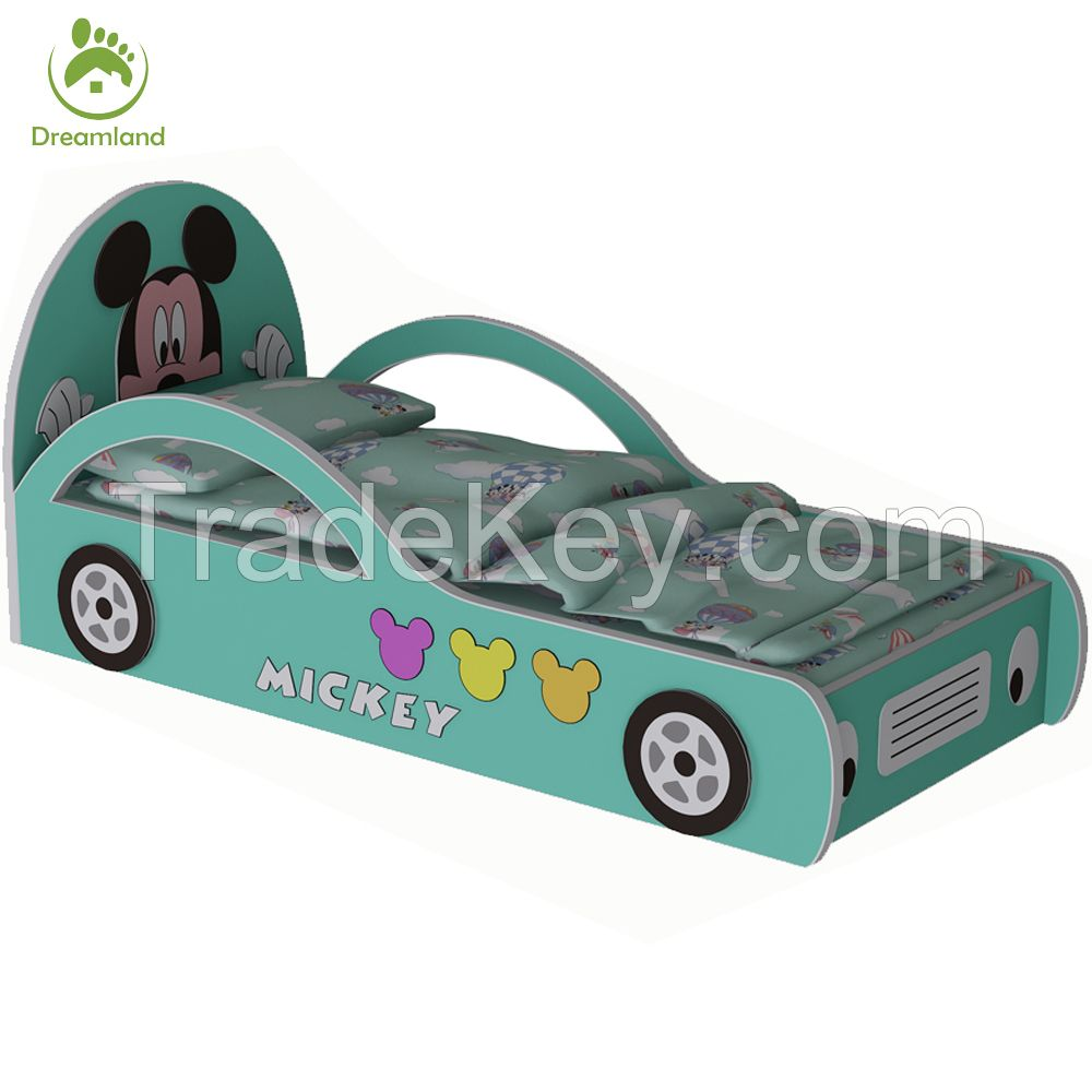 Attractive Kids Cartoon Race Car Shape Bed