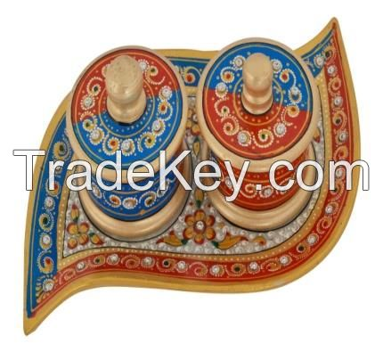 Handicraft Painted Marble Stone Two Bowl Platter