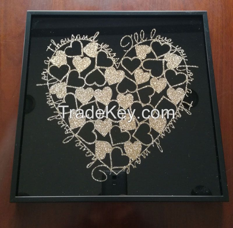 Valentine's Day Heart Print Frame Glass Cover hanging wall frame art
