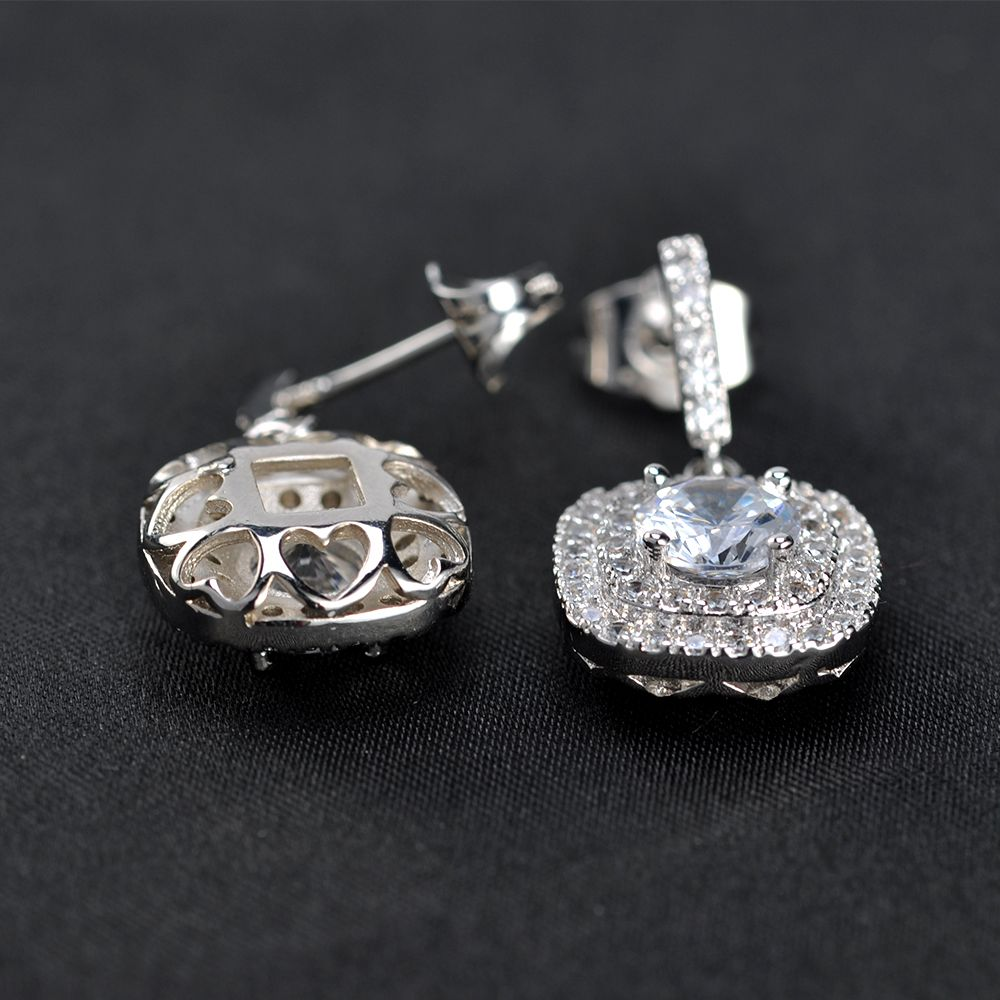 Chinese luxury beautiful designs long big bridal crystal stone drop pendant stud sterling silver earrings jewelry for women
