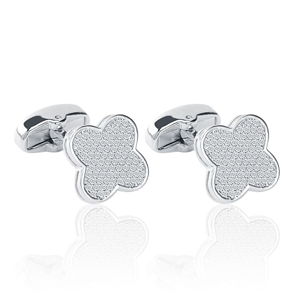 2018 Custom Jewelry White Gold Micro Pave Zircon Clover Cuff Links/Cufflinks