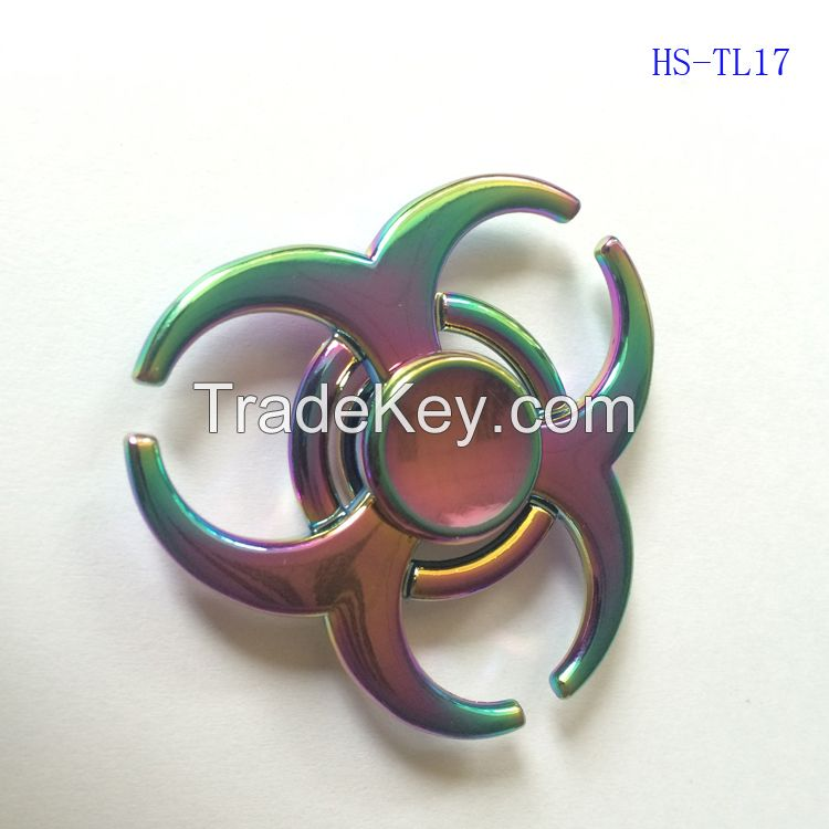 Fidget spinner toys Rainbow Tri-Fidget Metal Hand Colorful EDC Gyro Toys HandSpinner spinners finger top spinning Toy in retail box