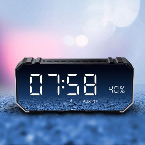 Bluetooth Wireless Speaker with Dual Alarm Clock, Digital FM Radio, 3.5mm Aux Line-in TF Card Play, Thermometer, Large Mirror LED Dimmable Display for Hotel,Home,Office,Bedroom,Travel